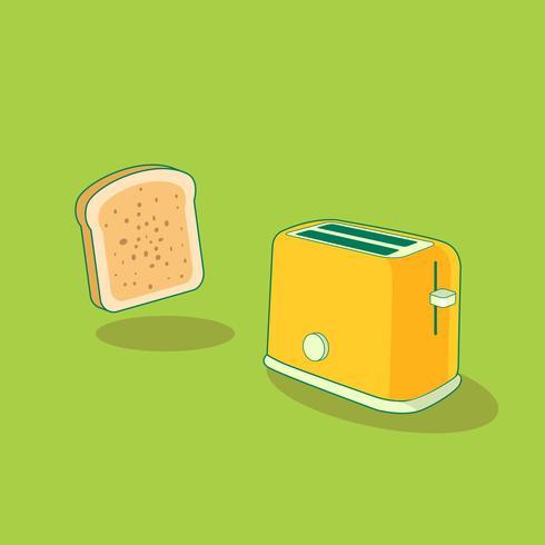 Frühstücks-Szene mit einem Brot-Toaster und einer Scheibe brot