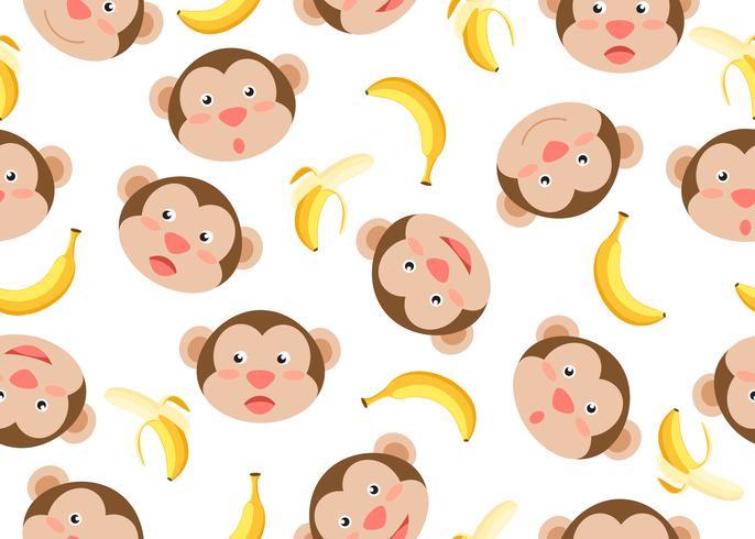 Patrón de plátanos monos