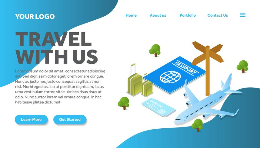 isometric passport traveling illustration website landing page vector