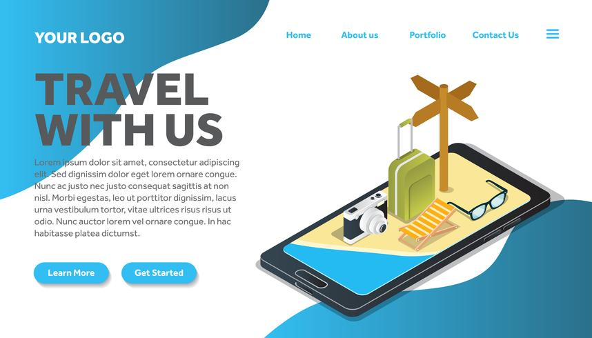 isometric iPhone traveling illustration website landing page