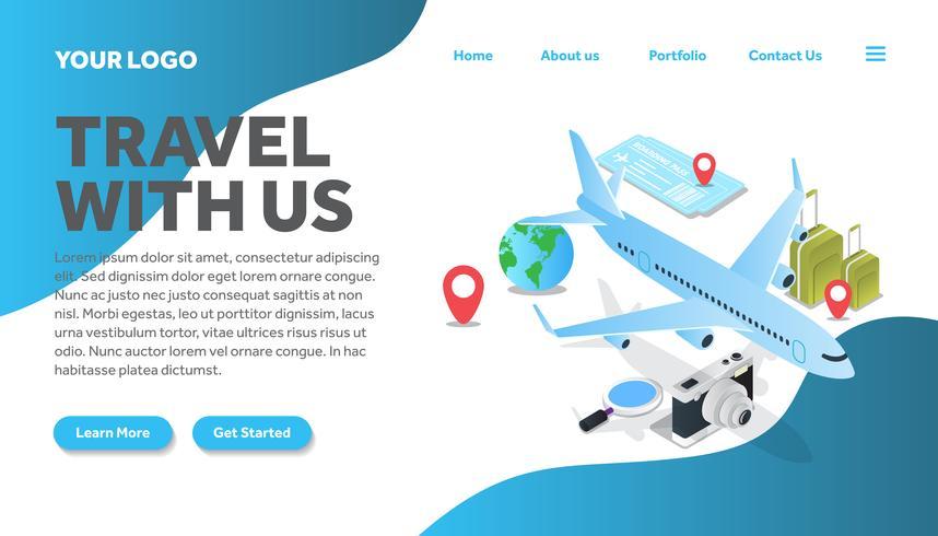 isometric airline traveling illustration website landing page
