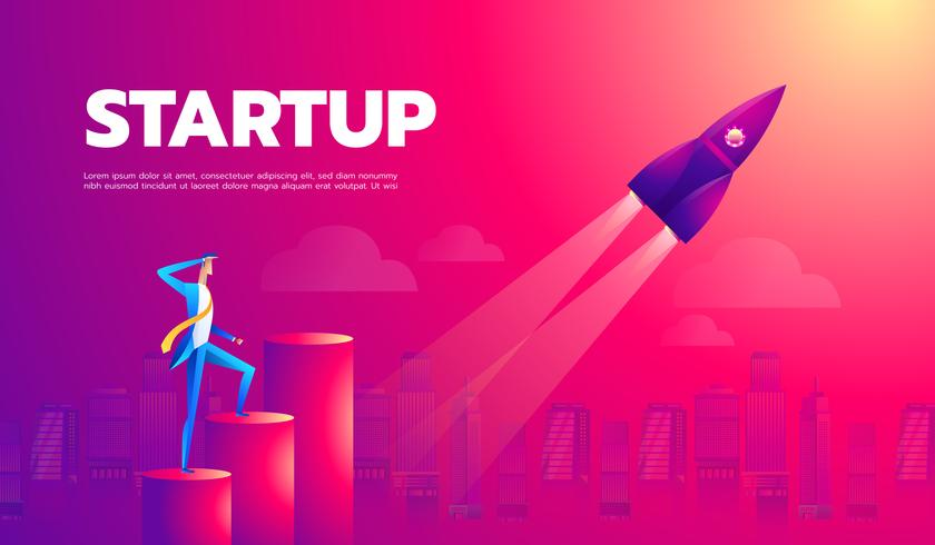 Startup raket vektor