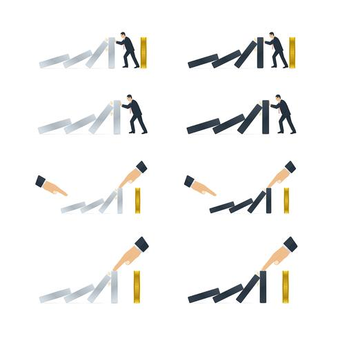 Hand en zakenman die domino-effect proberen te stoppen