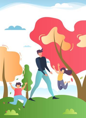 Padre che cammina nel parco con il fumetto di bambini felici