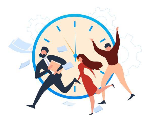 People Office Worker Run Deadline Alarm