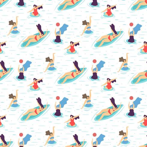 Summer Recreation Girl Motivation Seamless Pattern vector