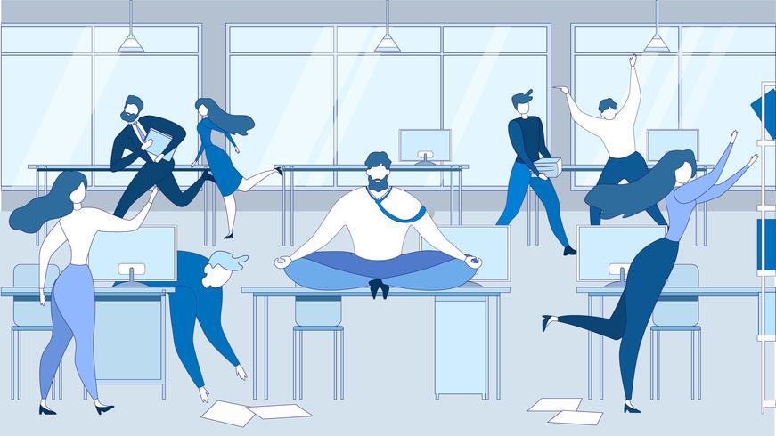 Cartoon Man Meditate Office Table People Stressed