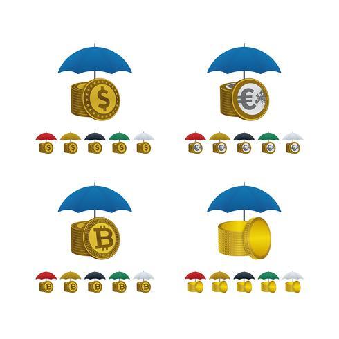 Paraplyikoner med valutor