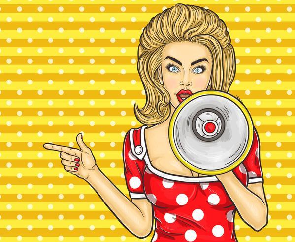 Aanwijs popart meisje met megafoon