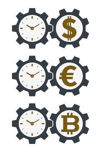 Engrenagem de ícones com moedas e rostos de relógio