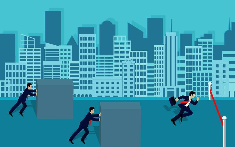 Empresario competencia empujar los obstáculos