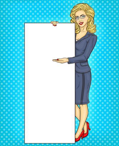 Mujer de negocios de arte pop con banner en blanco