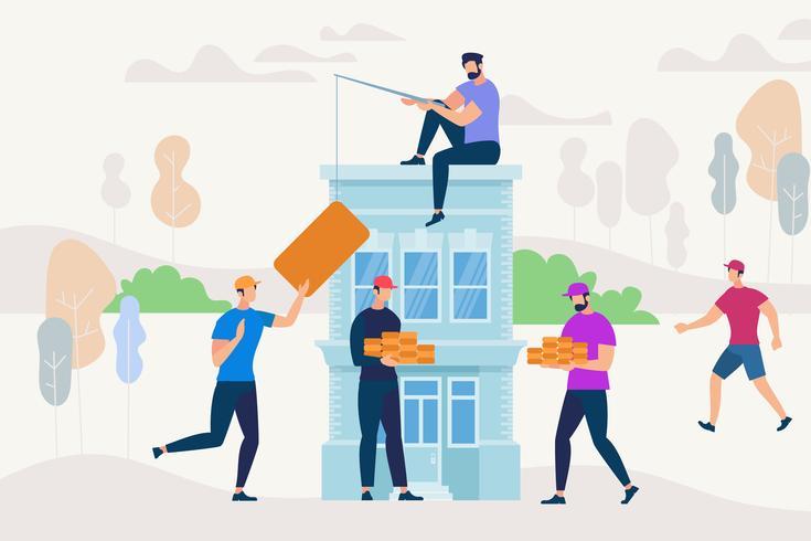 Personas trabajando juntas para construir una casa nueva