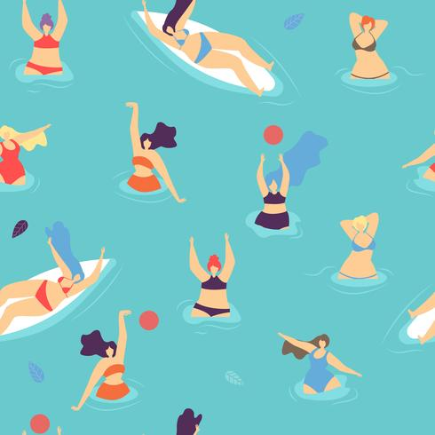 Naadloze platte patroon lichaam positieve vrouw