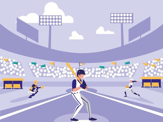 Baseball-Spieler-Stadion-Szene