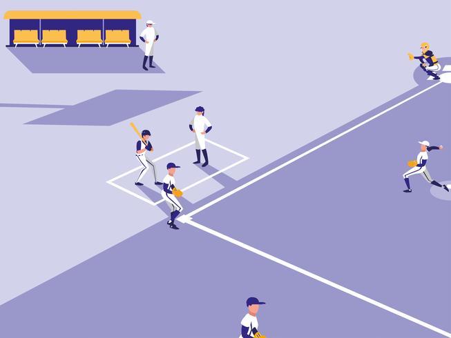 escena del juego de béisbol vector