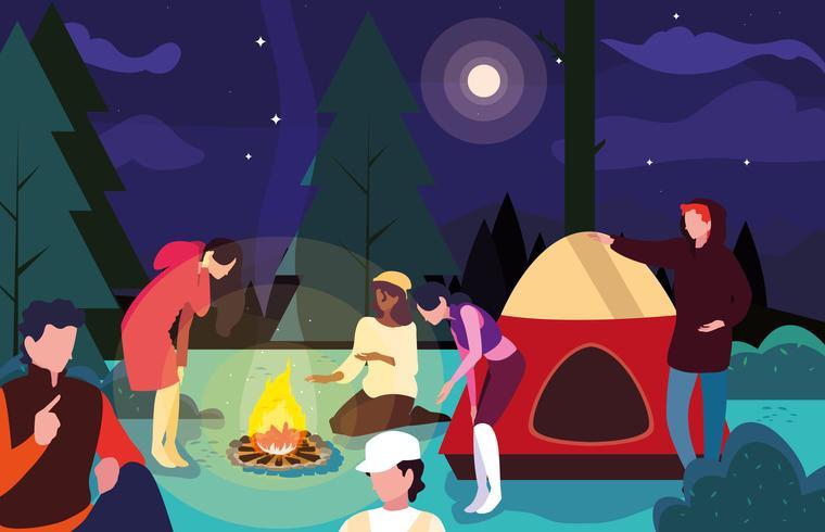 noche de fogata con amigos vector