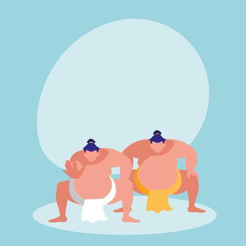män som utövar sumo avatar karaktär