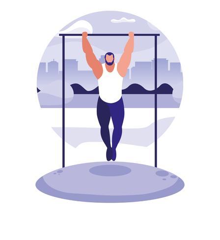man practicing outdoor gym vector