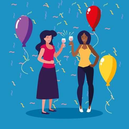 mujer feliz celebrando fiesta avatar personaje vector