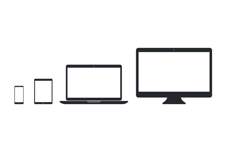 Set of simple smart phone, tablet pc, laptop, desktop pc vector