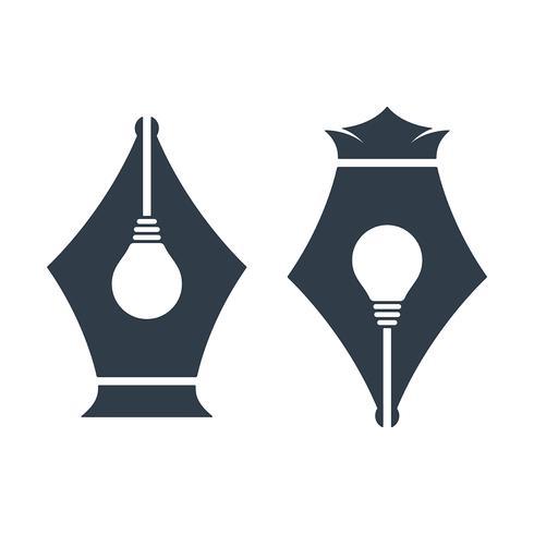 Icônes de plume avec signe de l'ampoule vecteur