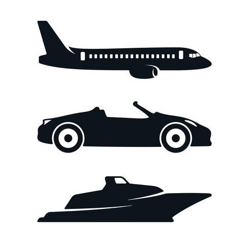 Auto vliegtuig boot pictogrammen