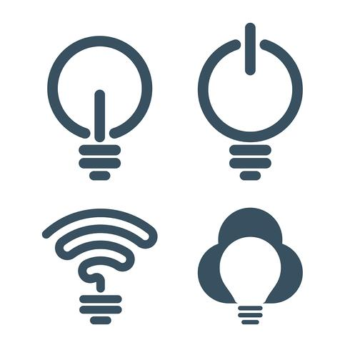 Bulb icons with information technology themes
