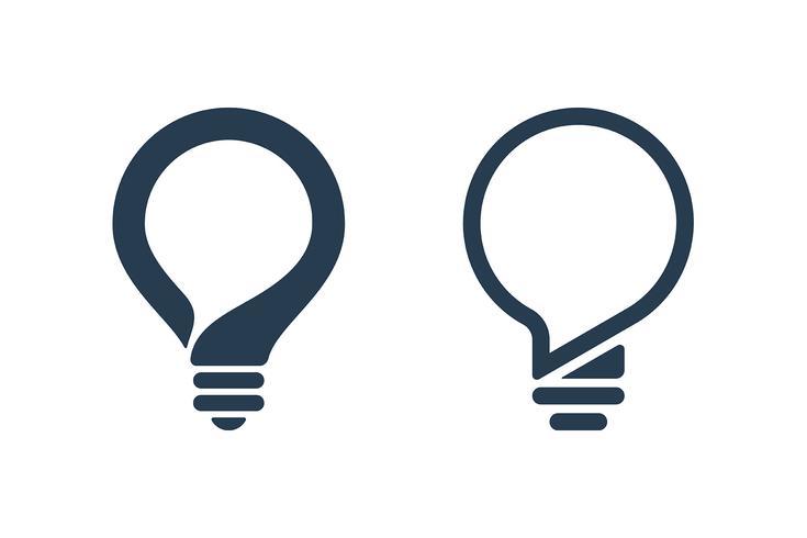 Glödlampa ikoner med pratbubblan