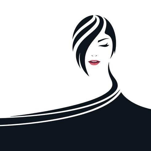 Hübsche Frauengesichtsillustration mit Kapsymbol