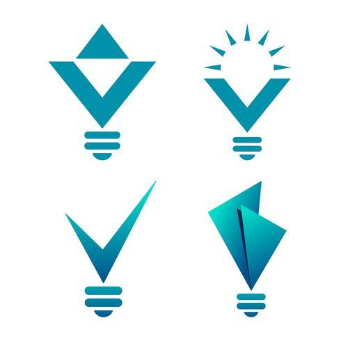 Ícones de bulbo em forma de diamante vetor