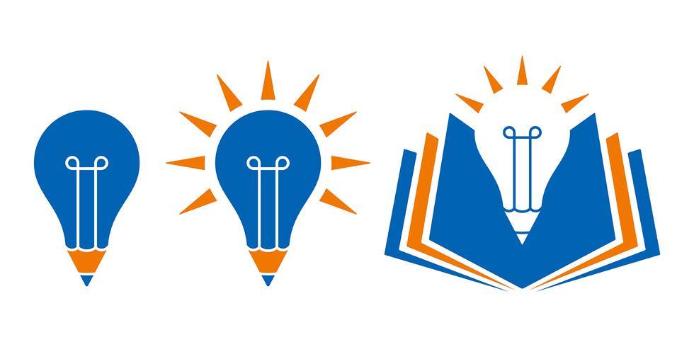 Kulaformad utbildningssymboler med penna och bok