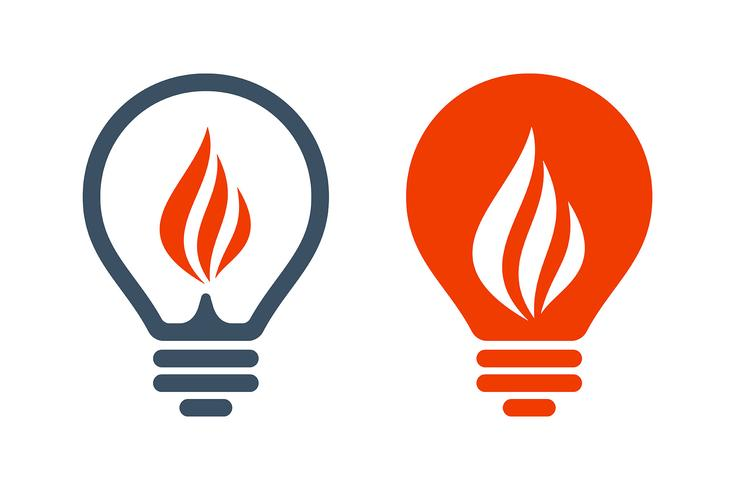 Iconos de bombilla con signo de llama