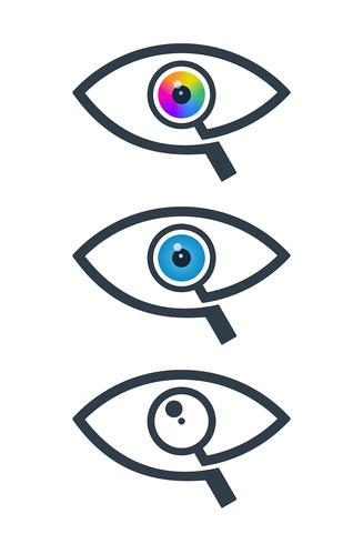 Eye icons with magnifying glass vector