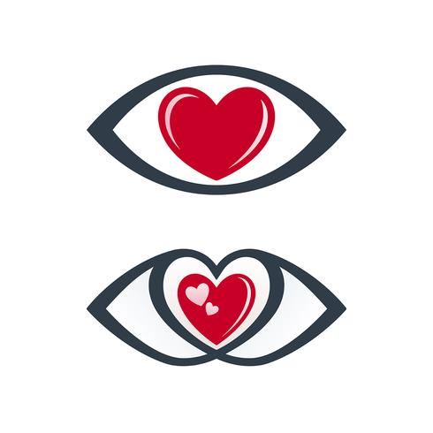 Eye icons with love theme vector