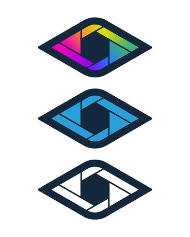 Diamond shaped shutter icons vector
