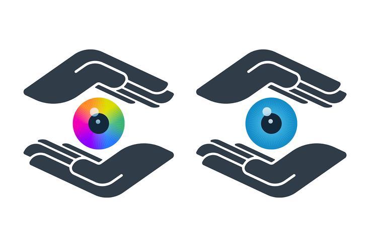 Eyeballs in hand icons vector