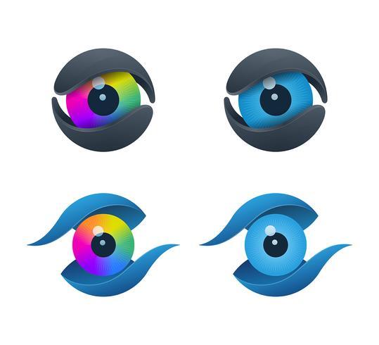 Iconos de ojos en forma de núcleo vector