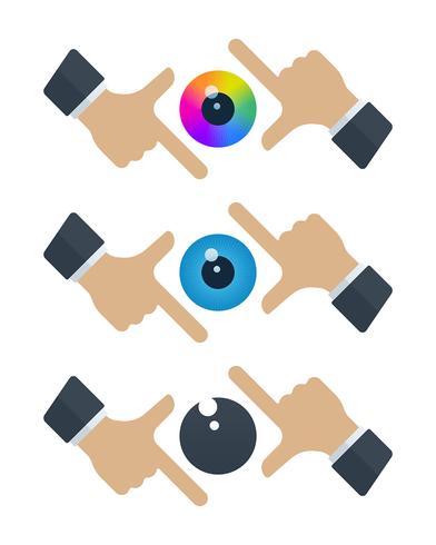 Globos oculares en marcos de manos