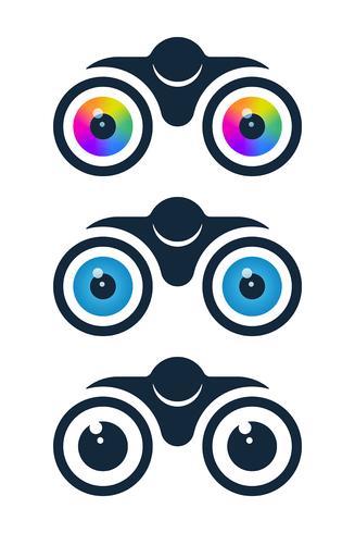 Iconos de binoculares con globos oculares