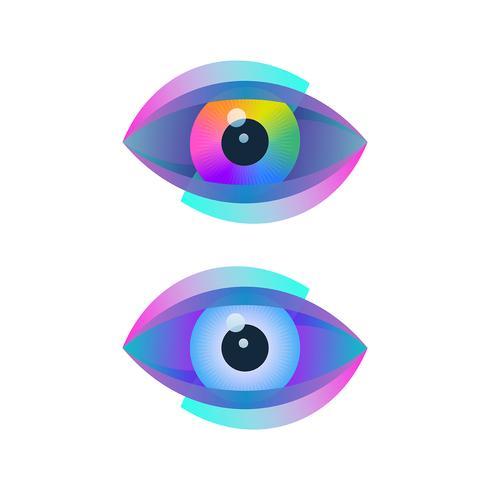Digital optical icons with eyeballs vector
