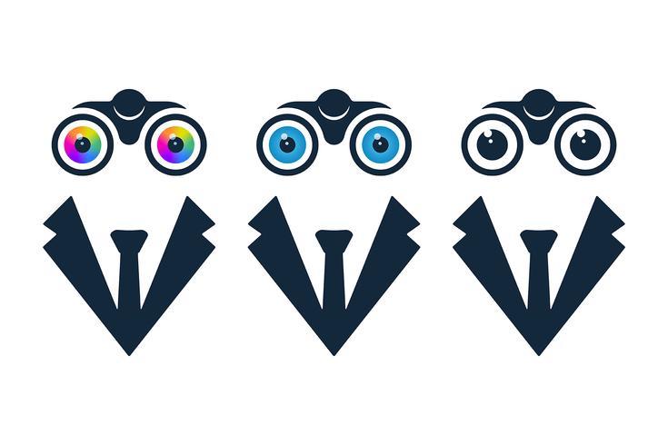 Businessman icons with binoculars vector