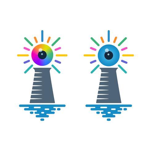 Vuurtoren pictogrammen met oogbollen
