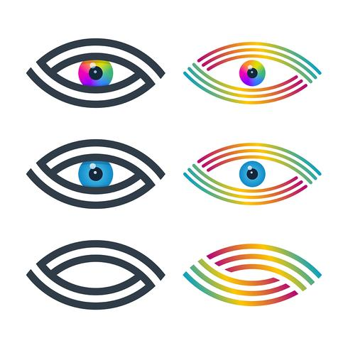 Spiral lined eye icons vector