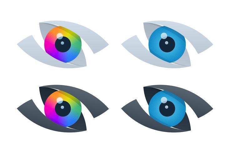 Iconos de visión abstracta con globos oculares