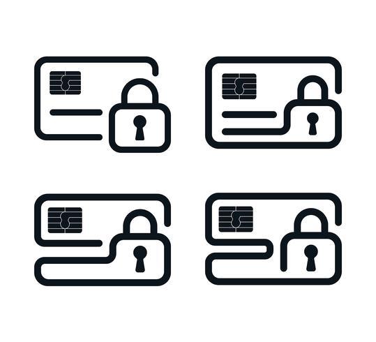 Umriss Kreditkarte Symbole mit Vorhängeschlössern