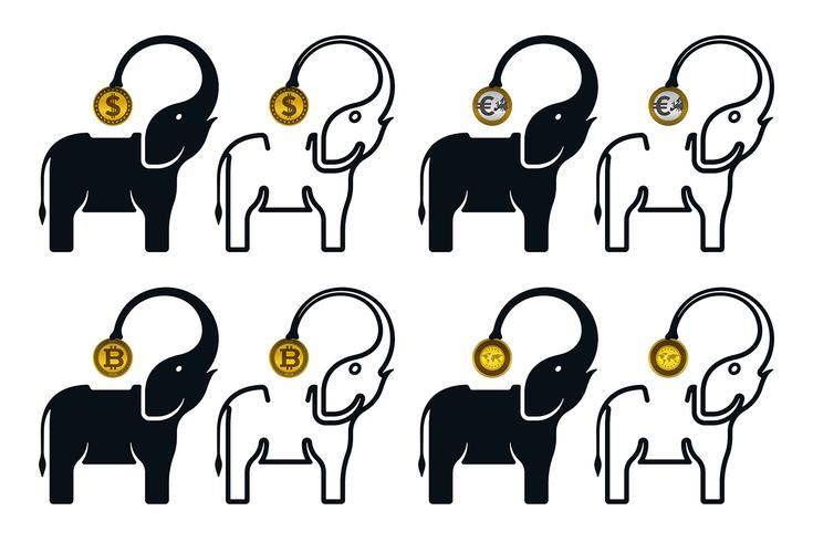 Iconos de hucha en forma de elefante con monedas