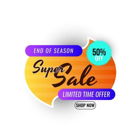 Grafica promozionale di vendita super fine stagione vettore