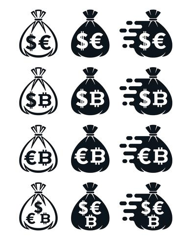 Icônes de sac d'argent avec divers symboles monétaires