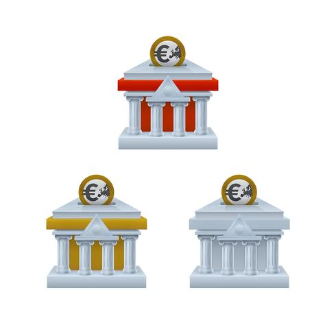 Banque de construction en forme d'icônes de tirelire avec des pièces en euros